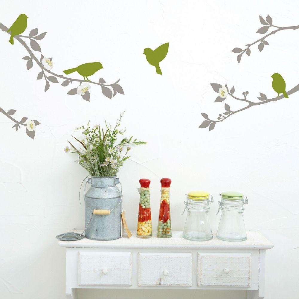 日本 TOKYO STICKER - 日本製 質感無邊框壁貼 [精緻轉印款]-樹梢小鳥 (A4)
