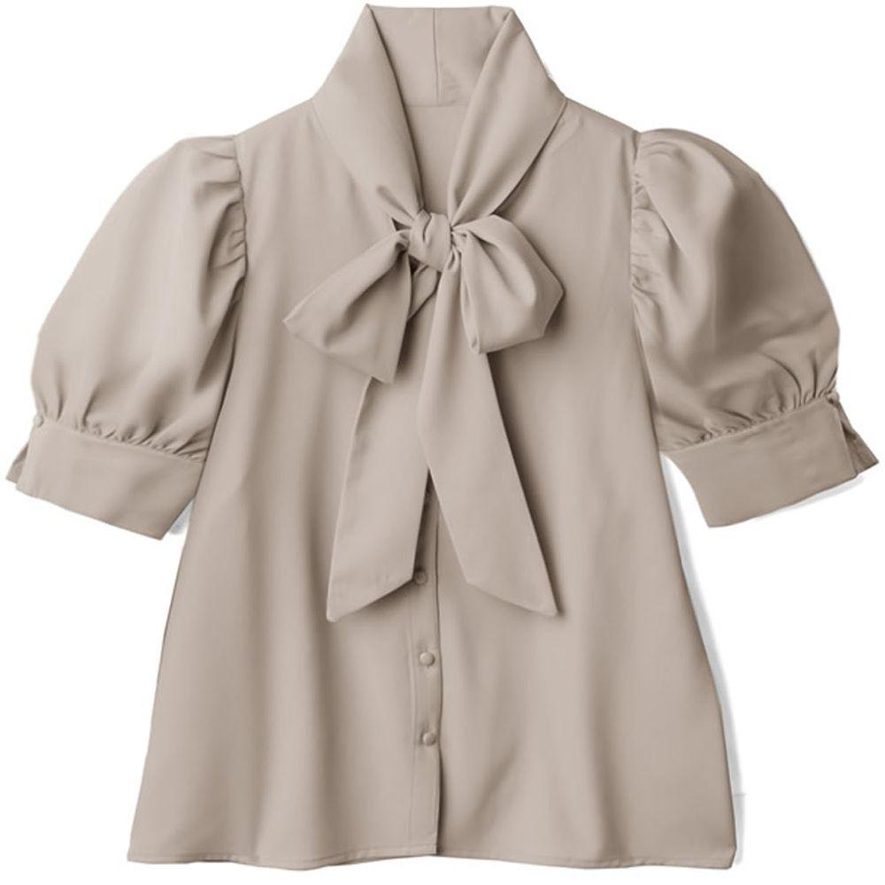 日本 GRL - 大蝴蝶領結澎澎短袖上衣-杏