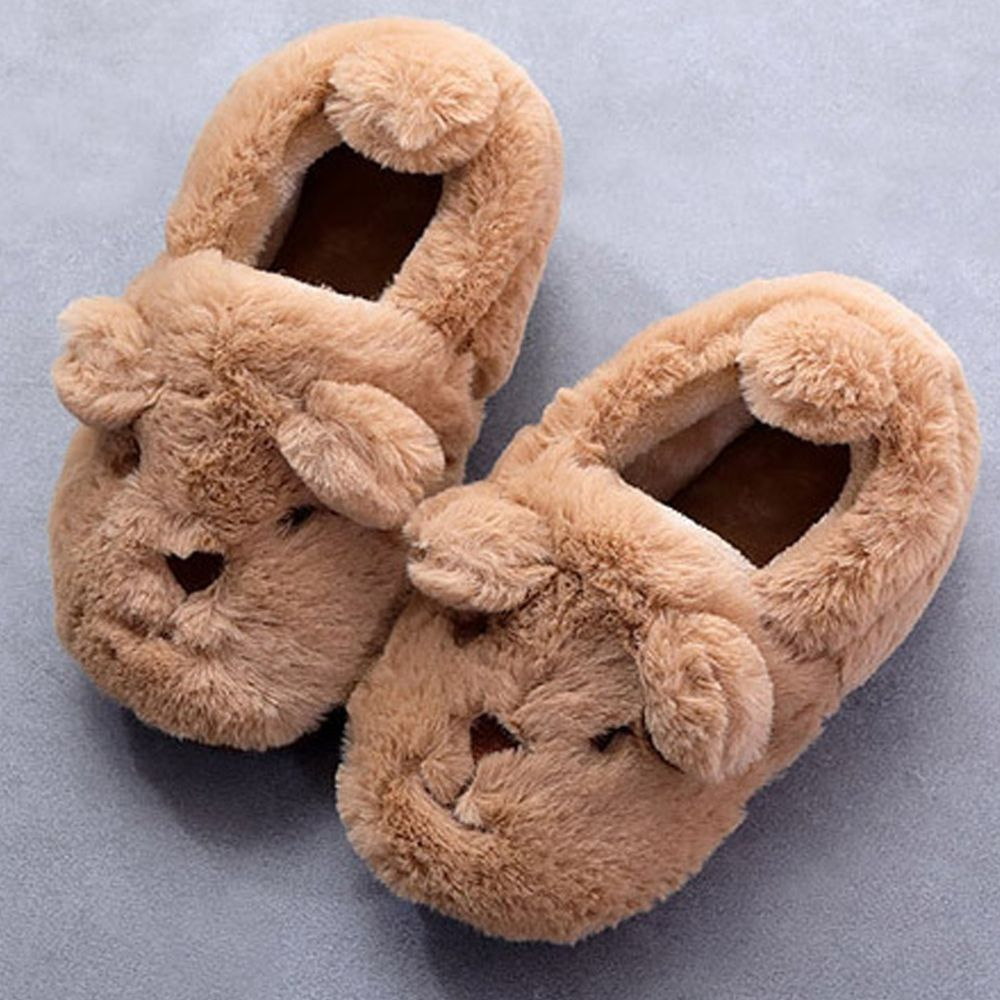 韓國 OZKIZ - (剩16cm)厚底絨毛動物室內鞋-咖啡熊