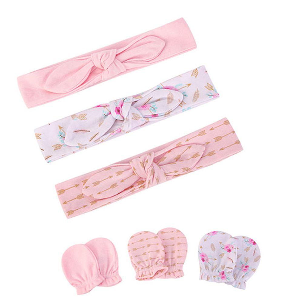 美國 Luvable Friends - 嬰幼兒新生兒髮帶3入組+100%純棉防抓手套護手套3入組-金色箭 (0-6M)