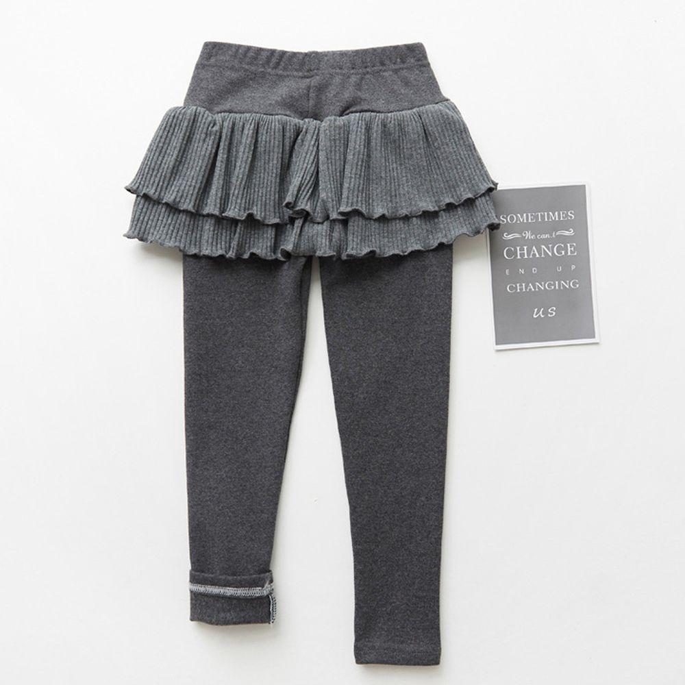 FANMOU - 內搭褲裙-雙層蛋糕裙擺-灰色
