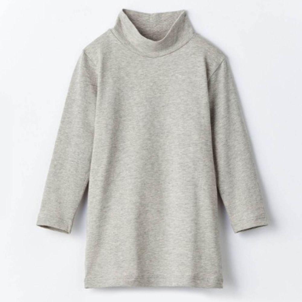 日本千趣會 - 95%棉 (兒童)九分袖高領發熱衣-雜灰