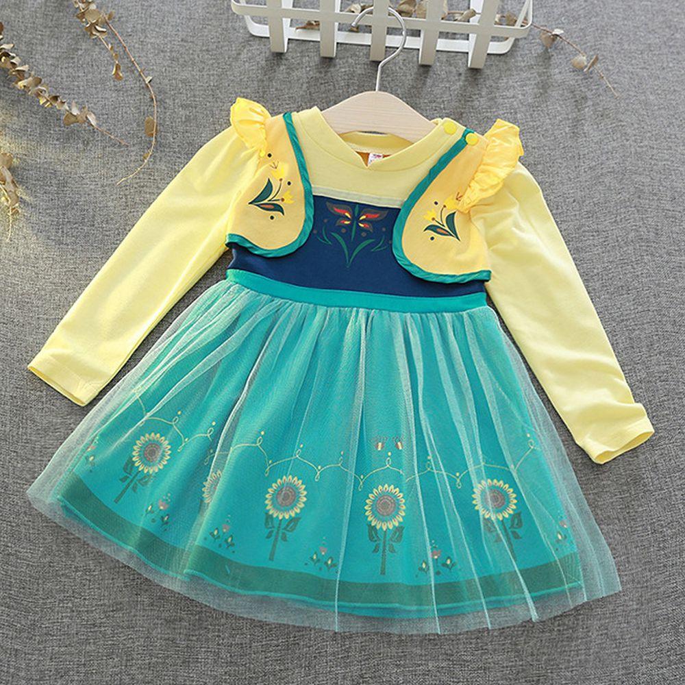 長袖造型公主裙-黃綠色