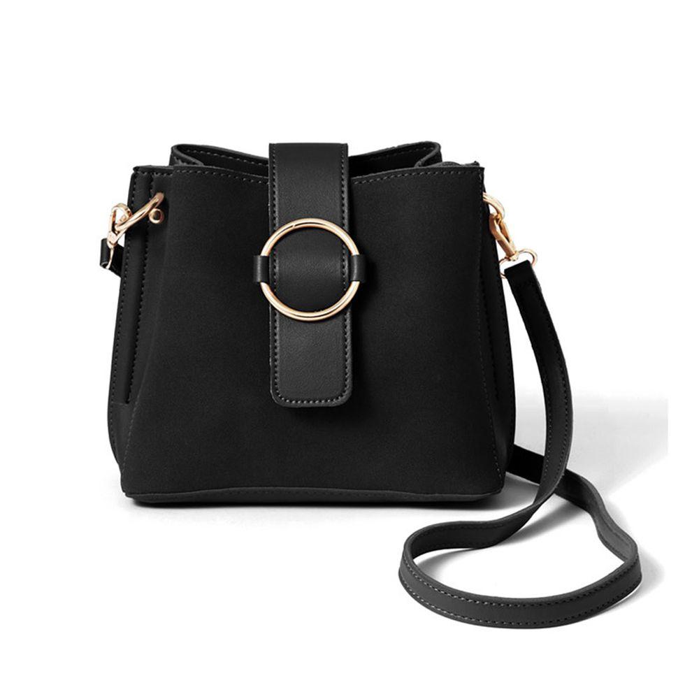 日本 GRL - 雙背帶2way異材質拼接側背包-時尚黑