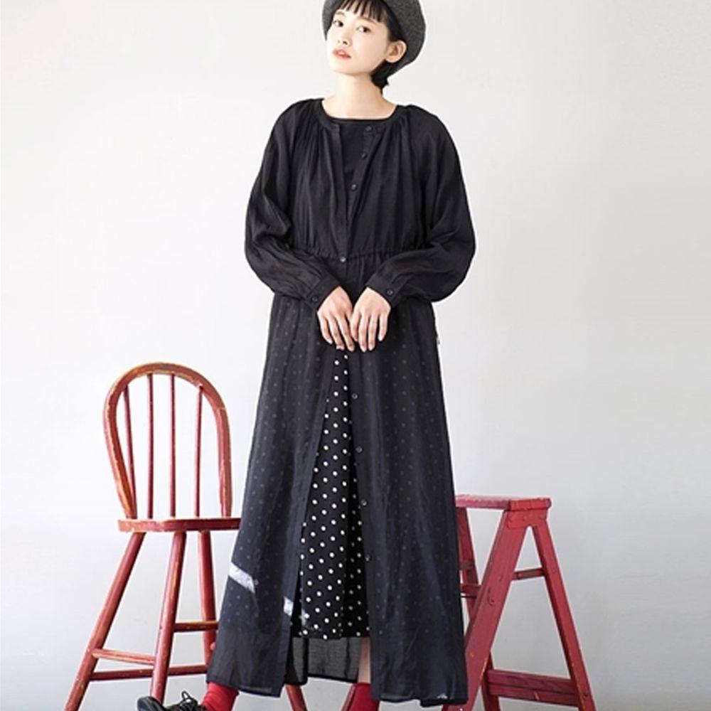 日本 zootie - 日系清透綁帶開襟罩衫-黑 (Free)