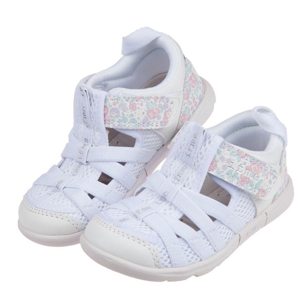 日本IFME - 白色和風花繪兒童機能水涼鞋