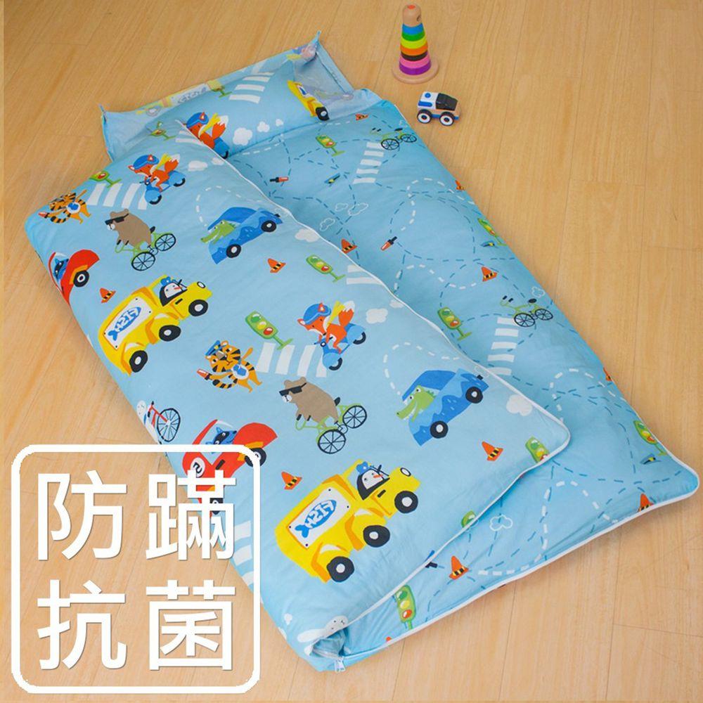 鴻宇HONGYEW - 防螨抗菌100%美國棉鋪棉兩用兒童睡袋-旅行家-2022藍