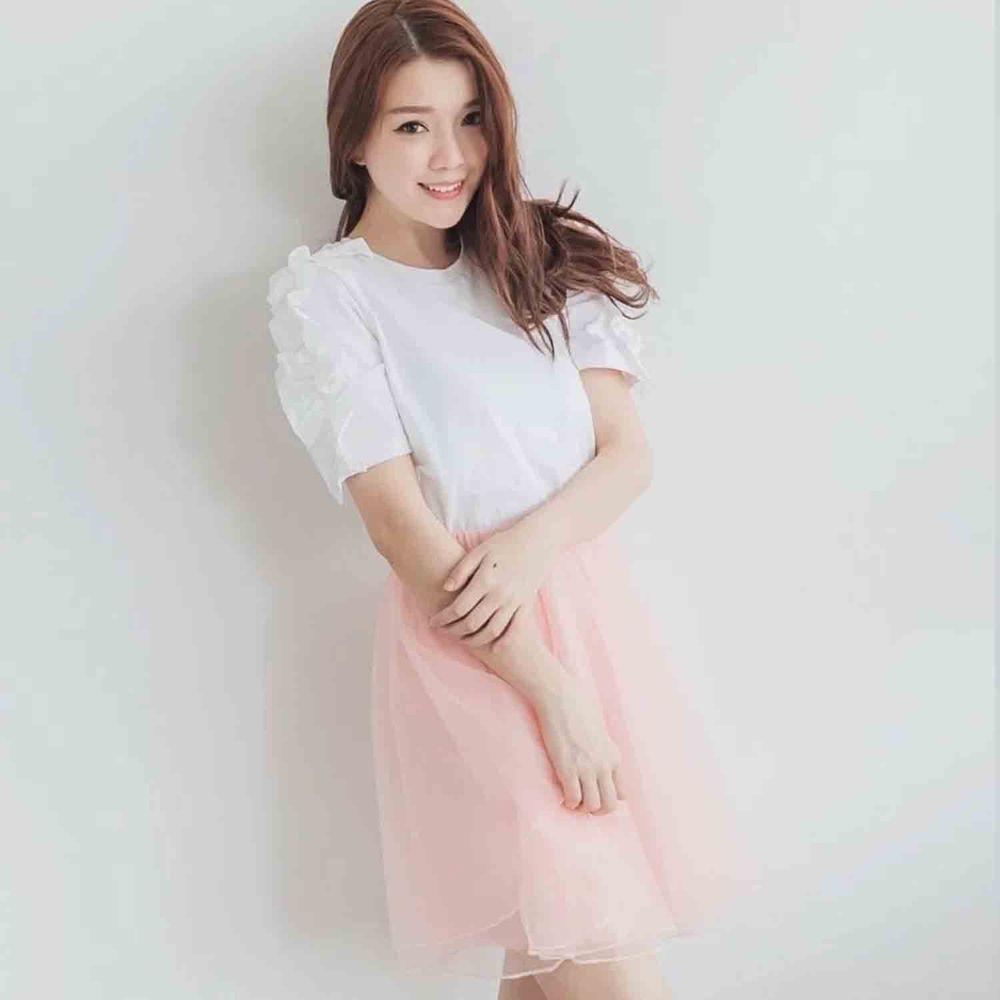 Peachy - 獨家訂製綿柔空氣紗裙-短裙款-蜜桃粉 (F)