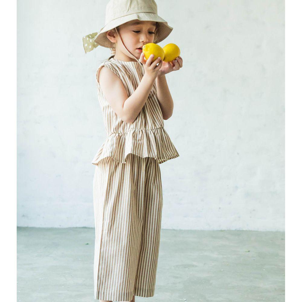 日本 PAIRMANON - 無袖荷葉衣襬上衣 X 寬褲套裝-直條紋-杏