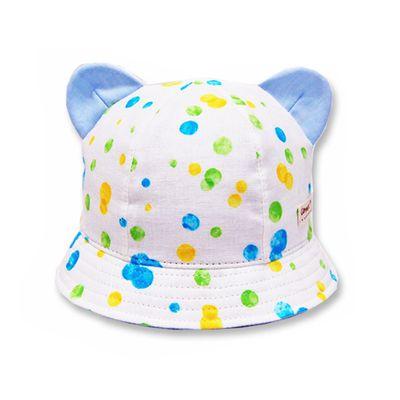 日本製粉嫩點點幼童帽(附彈性帽帶)-小耳朵-藍
