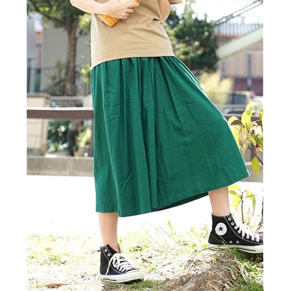 日本 zootie - 麻料舒適寬褲裙-正綠