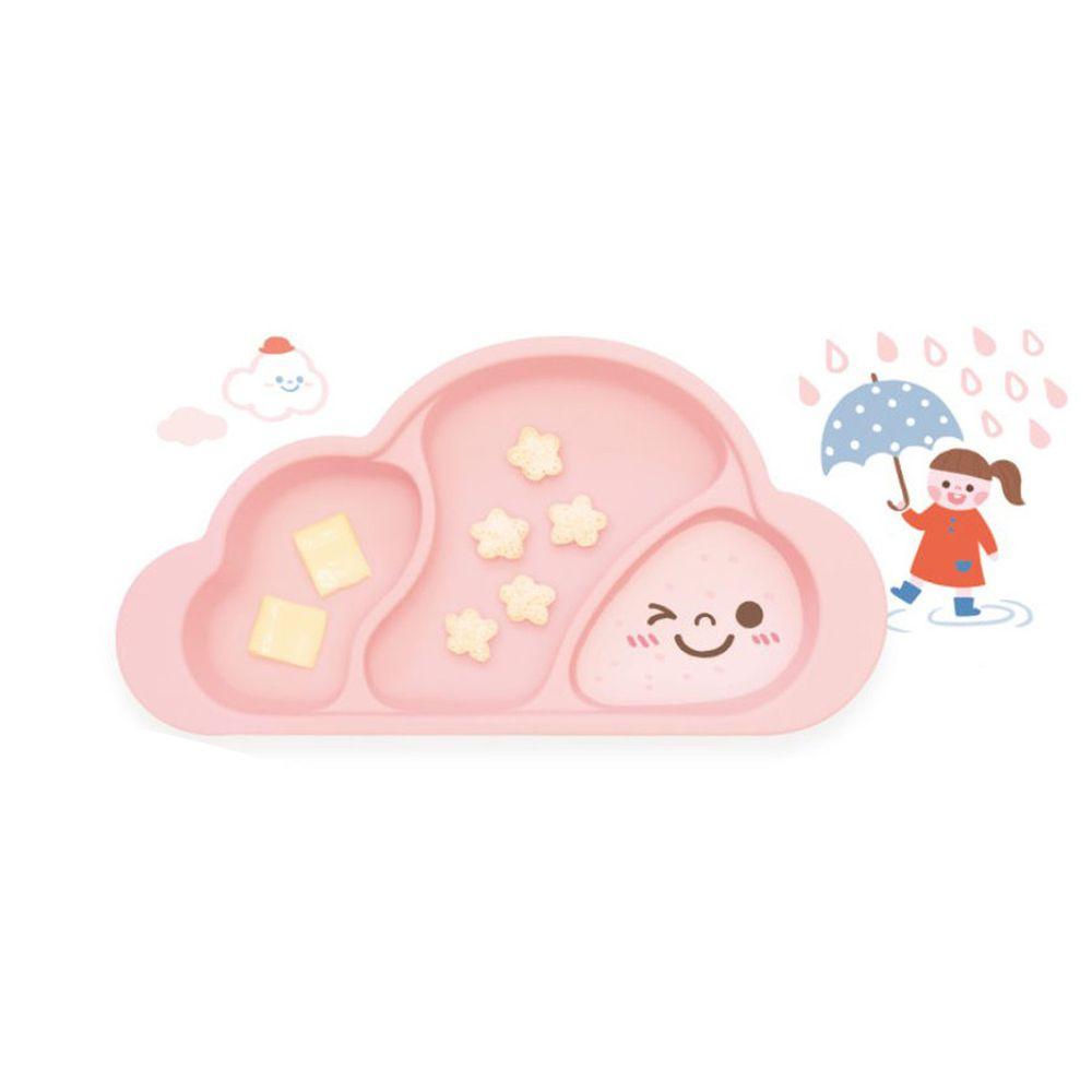 韓國 Mother's Corn - 雲朵分隔矽膠餐盤-櫻花粉-1入