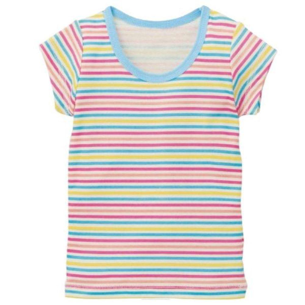 日本千趣會 - 彩色條紋柔棉短T恤-水藍/粉紅 (130)