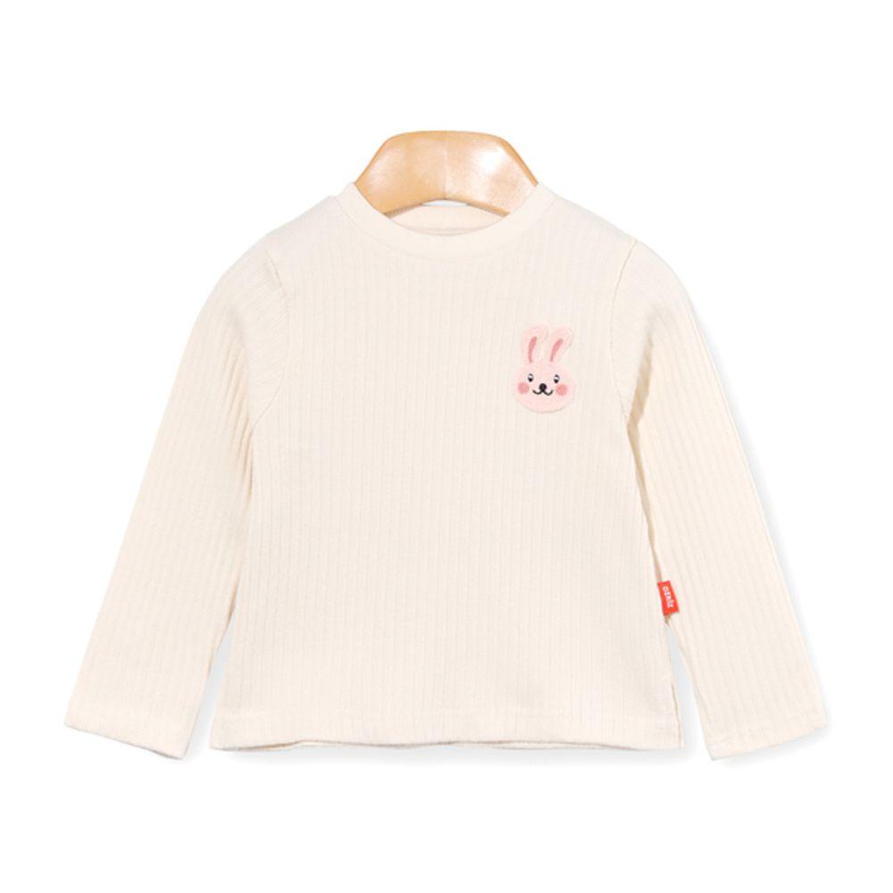 韓國 OZKIZ - 刺繡小兔螺紋針織衣-象牙白