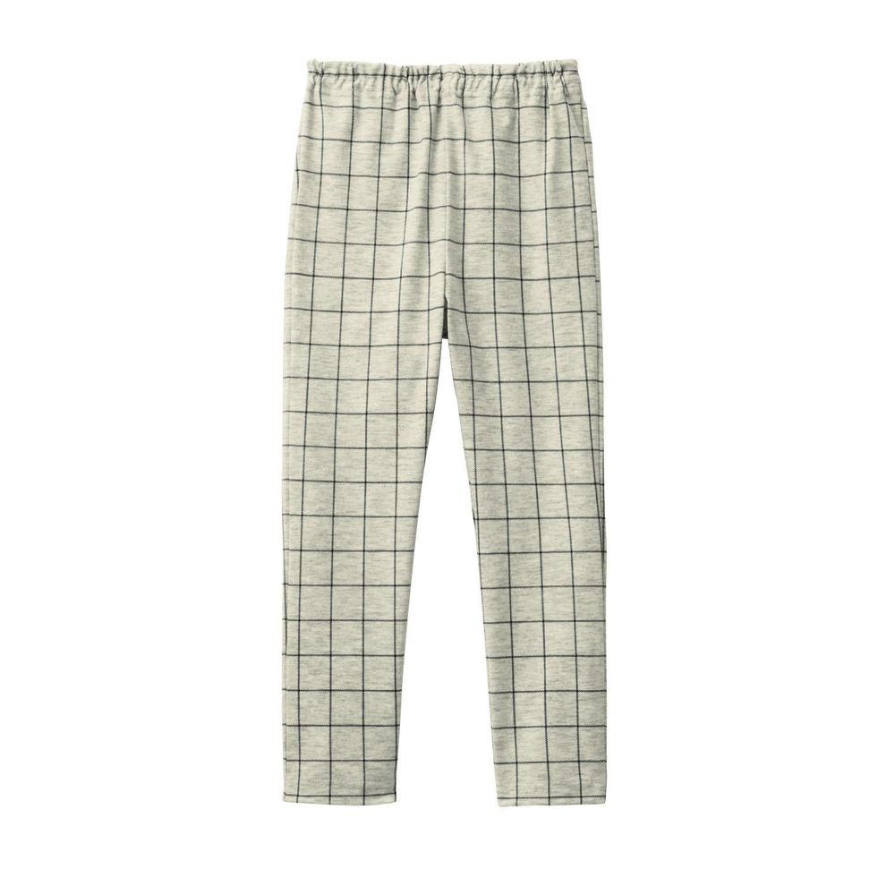 日本千趣會 - GITA 超彈力純棉10分內搭褲-白底細格紋