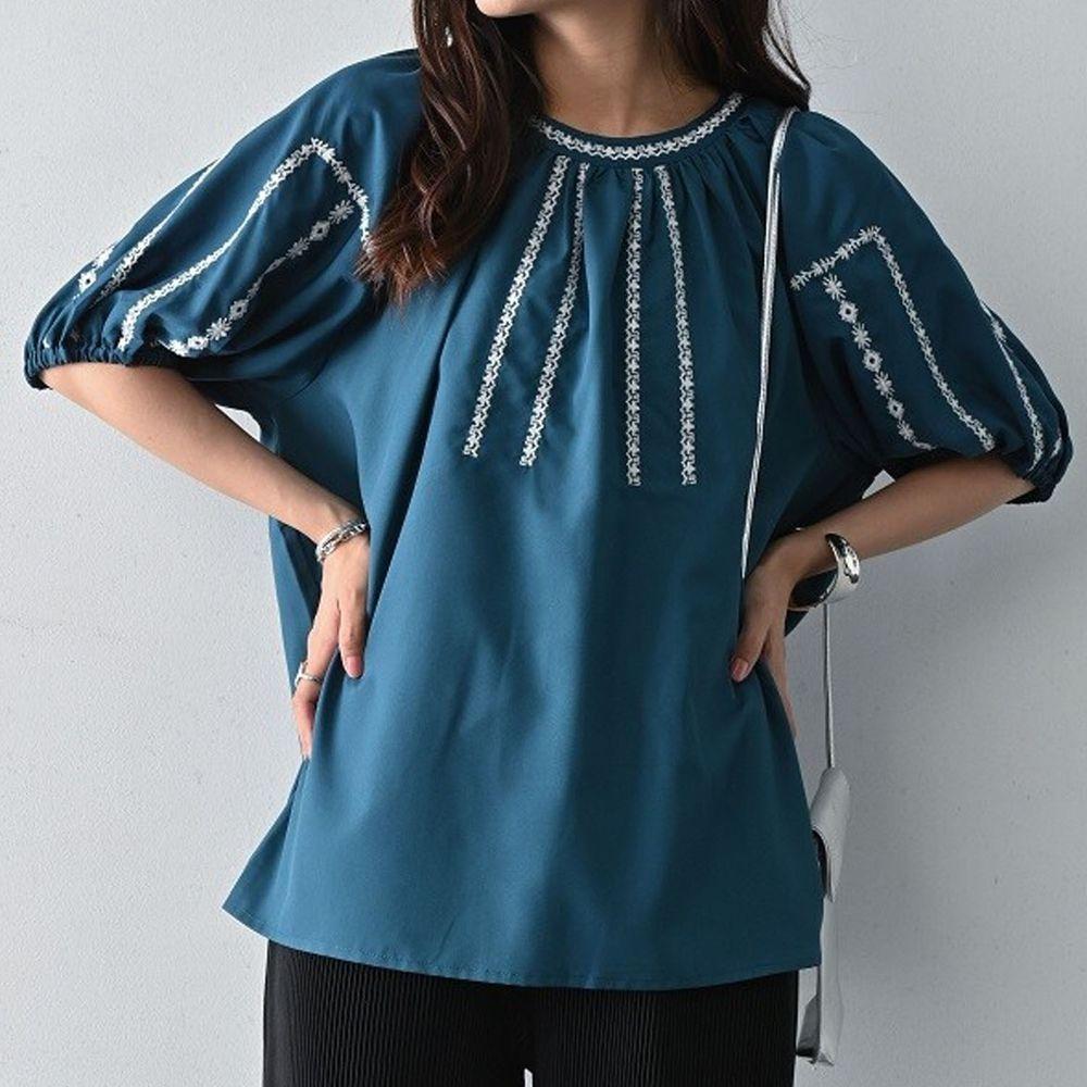 日本 ELENCARE DUE - 五分袖刺繡圓領上衣-綠