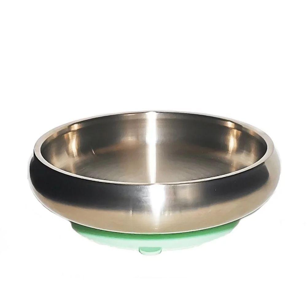 美國little.b - 316雙層不鏽鋼寬口麥片吸盤碗-小芽綠-(碗*1, 吸盤*1)