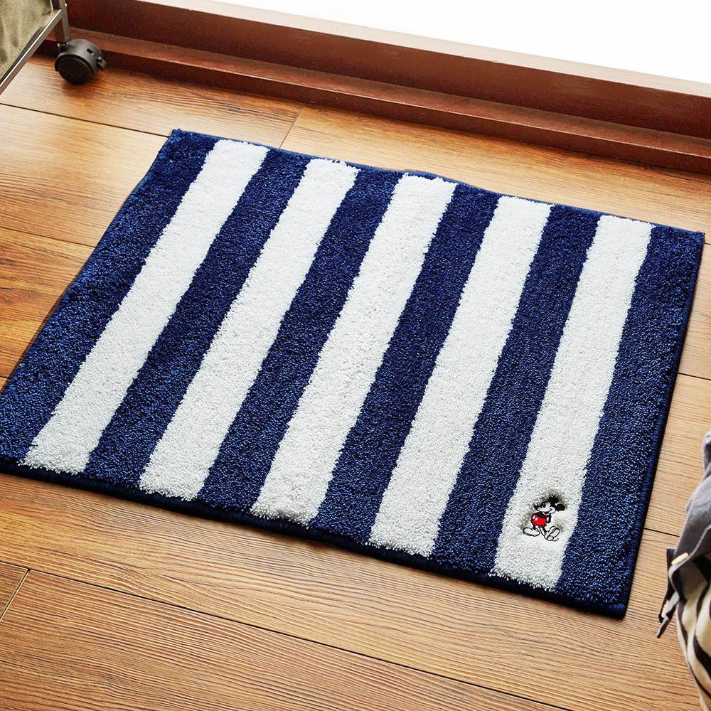 日本千趣會 - 迪士尼 吸水速乾腳踏墊(抗菌防臭加工)-米奇-藍白條紋 (45x60cm)