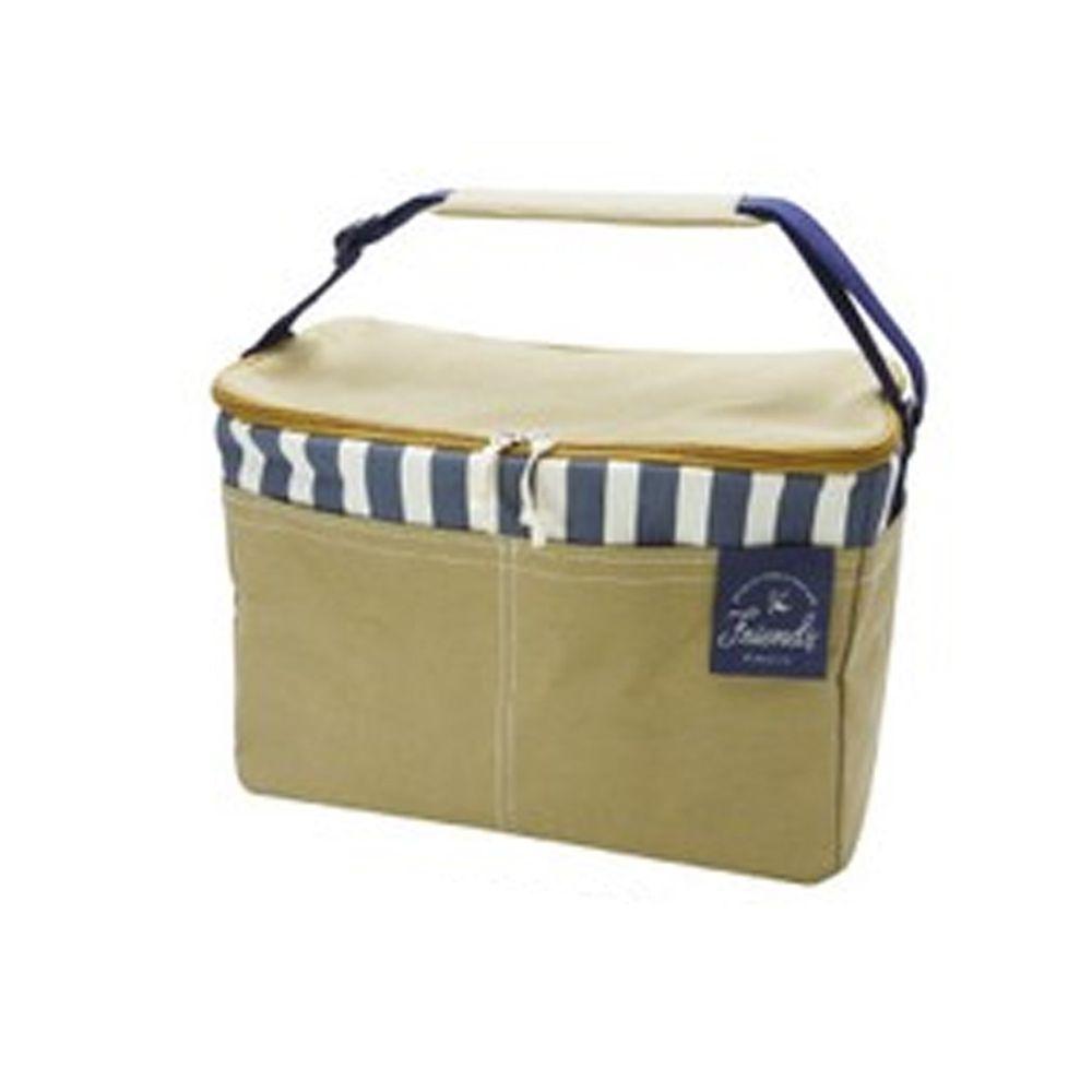 日本現代百貨 - 立體方形 保溫保冷袋/購物袋-19-條紋杏 (37x19x26cm)
