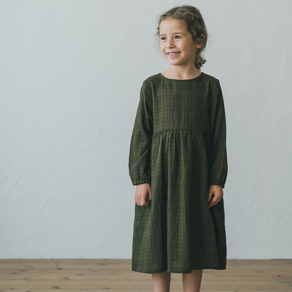 日本 riziere - 復古皺痕長袖洋裝-卡其綠