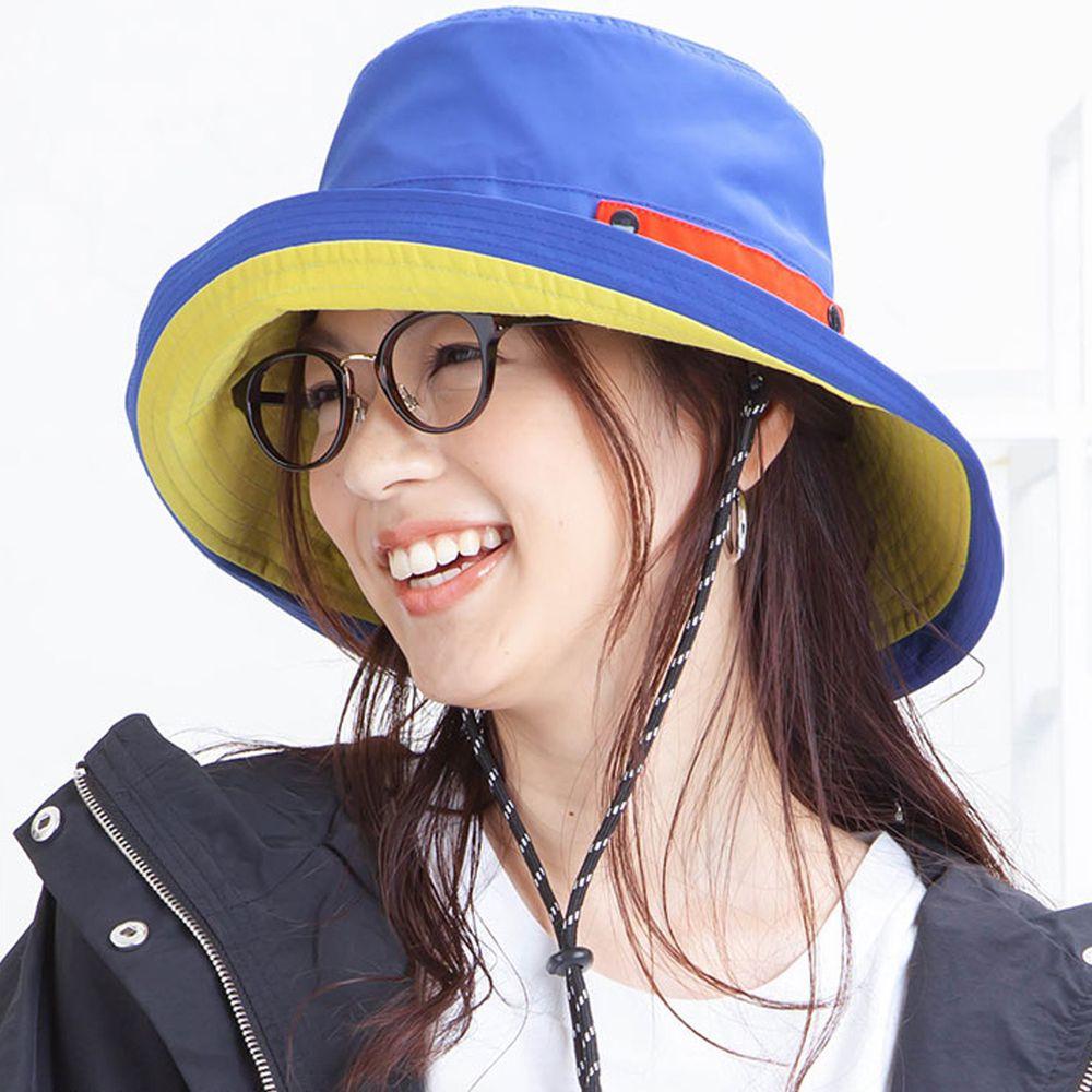 日本服飾代購 - 【irodori】抗UV可捲收防潑水遮陽帽(附防風帽帶)-藍X黃內裏