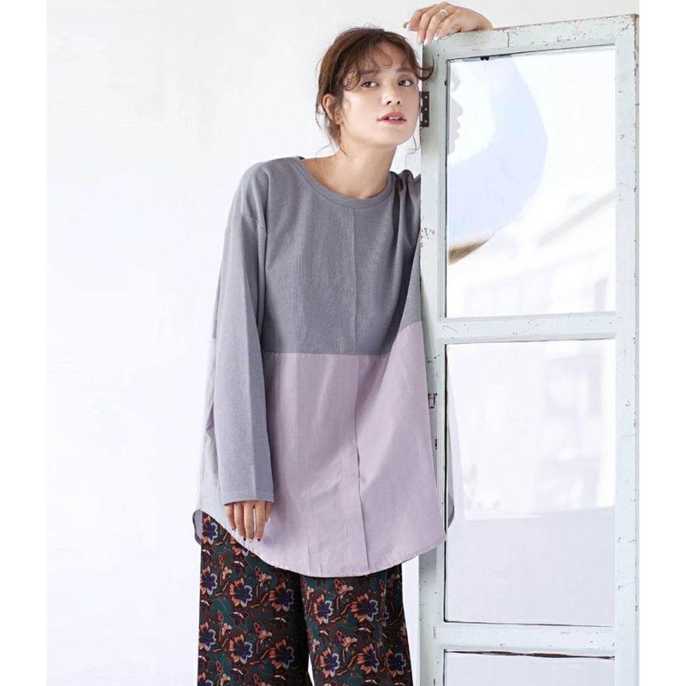 日本 zootie - 異材質拼接寬鬆薄長袖上衣-藍