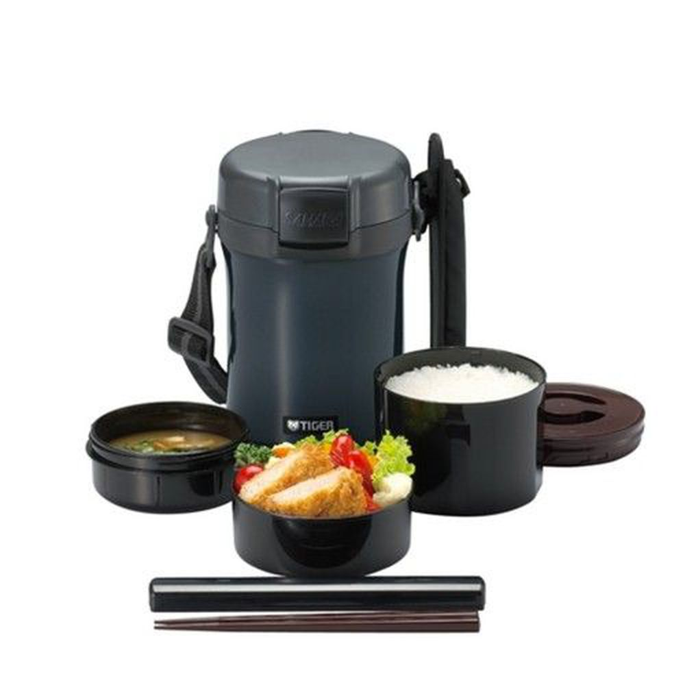 TIGER 虎牌 - 304不鏽鋼保溫飯盒-附揹帶及筷子-黑色(HD) (3碗飯)