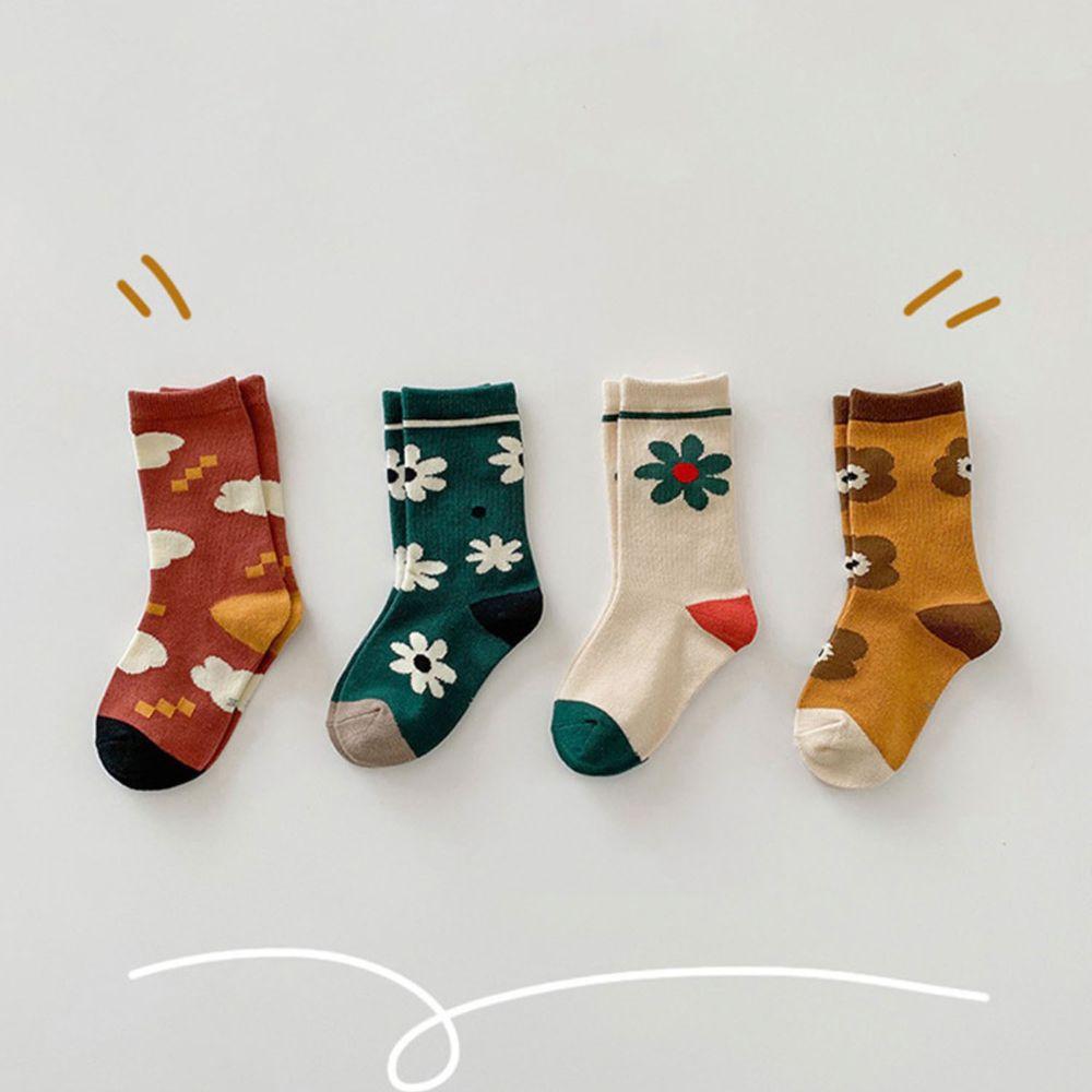 秋季拼色花朵中筒襪 (4雙一組)