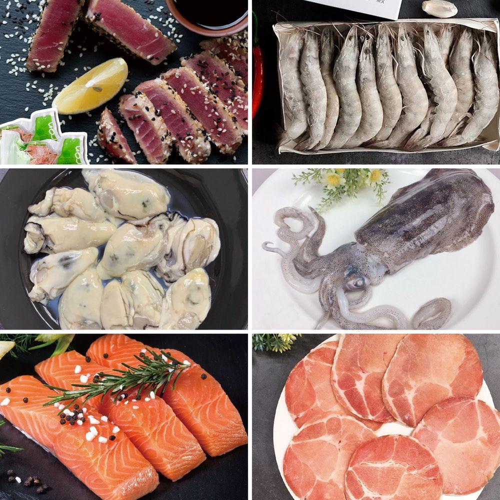 Camaron卡馬龍 - 嫦娥奔月輕盈組-白晶蝦(大) *2+鮪魚腹排*1+軟絲二入組*1+鮭魚菲力*1+牡蠣肉*1+梅花豬肉片*1