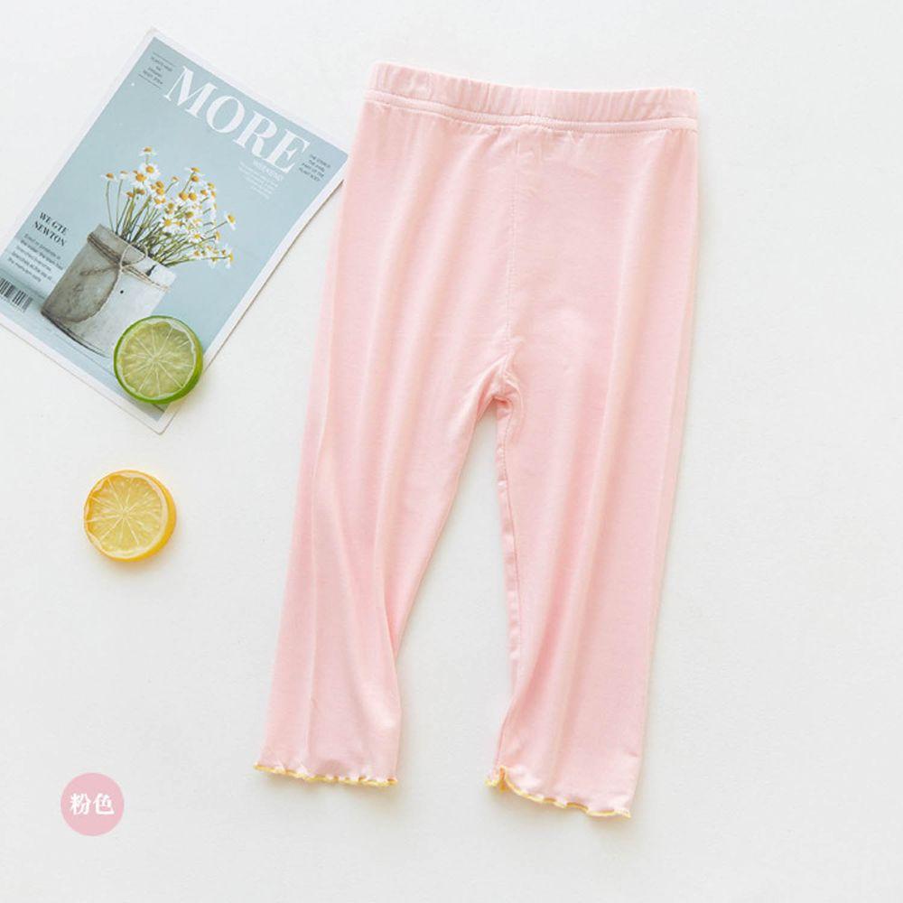 FANMOU - 七分內搭褲(莫代爾)-繽紛滾邊-粉色