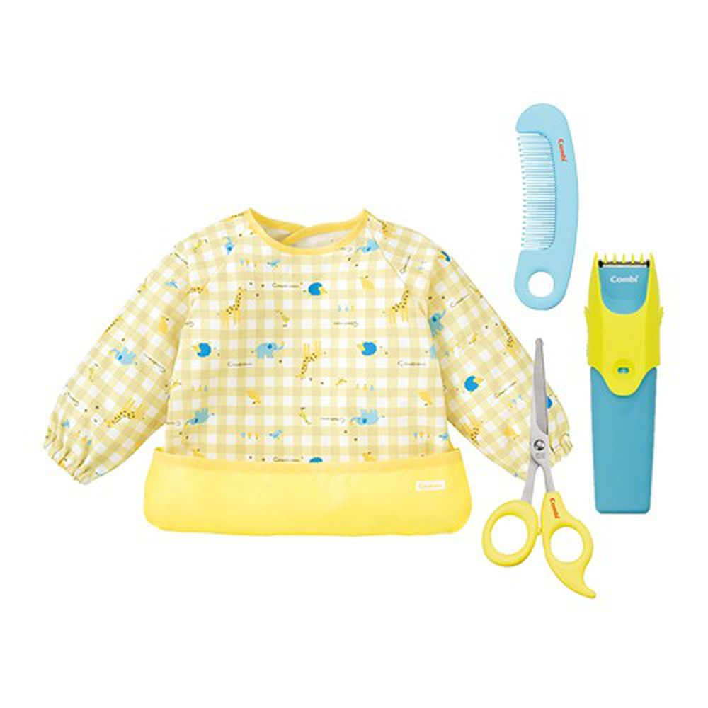 日本 Combi - 優質可水洗幼童電動理髮器+優質安全髮剪髮梳組+mini 食事圍兜組合-長袖款-動物園-奶油黃