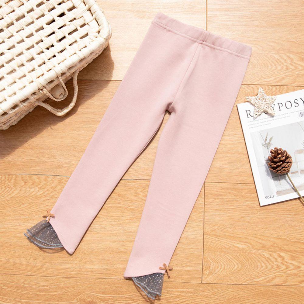 FANMOU - 內搭褲-拼接薄紗-粉色