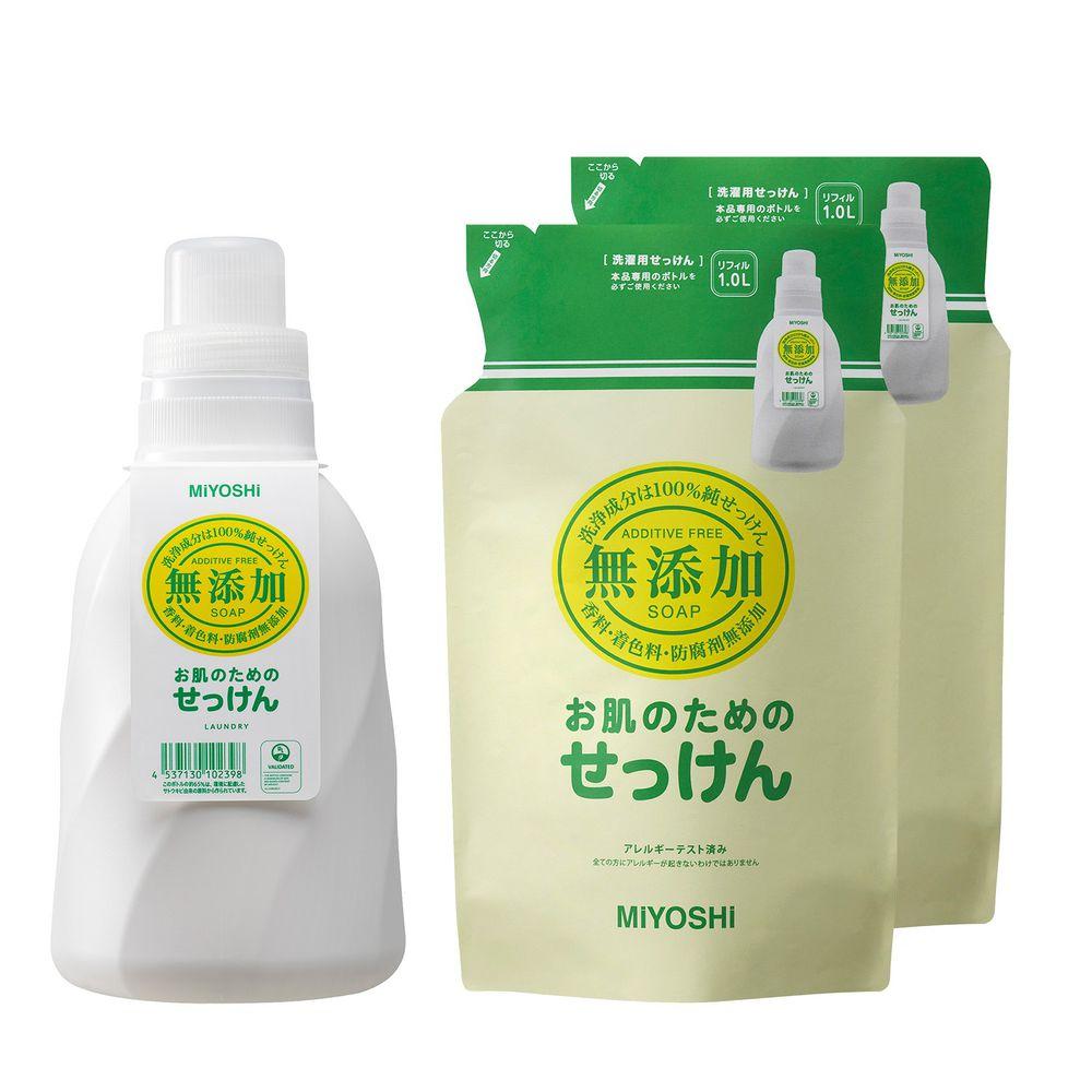 日本 MIYOSHI 無添加 - 洗衣精-1瓶+2補充包組-1.1L+1L*2
