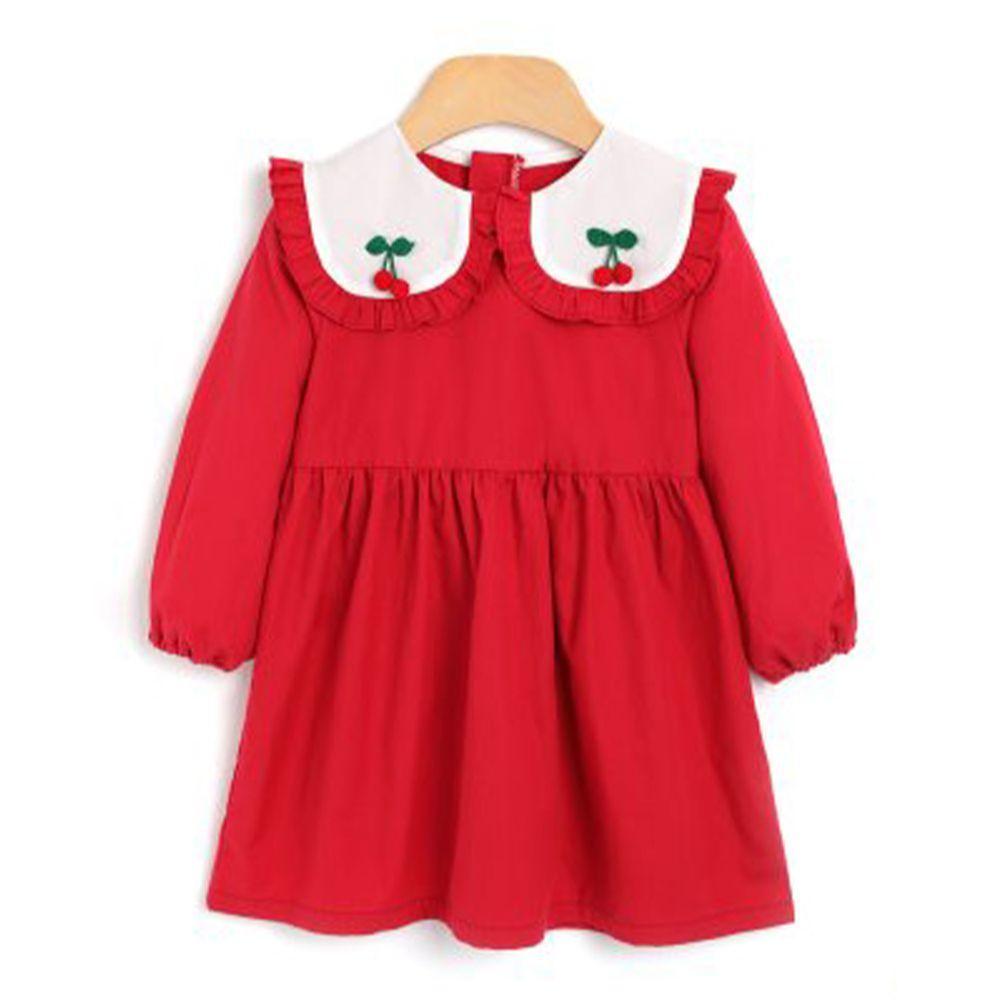 韓國 OZKIZ - 紅櫻桃大方領洋裝