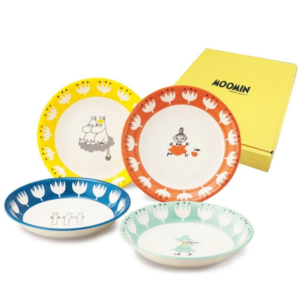 日本山加 yamaka - moomin 嚕嚕米彩繪陶瓷深盤禮盒-MM1000-184-4入組
