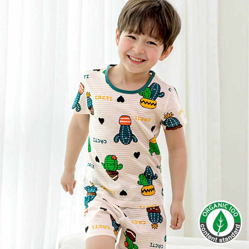 韓國 Maykids - 有機棉緹花短袖家居服-藍綠仙人掌