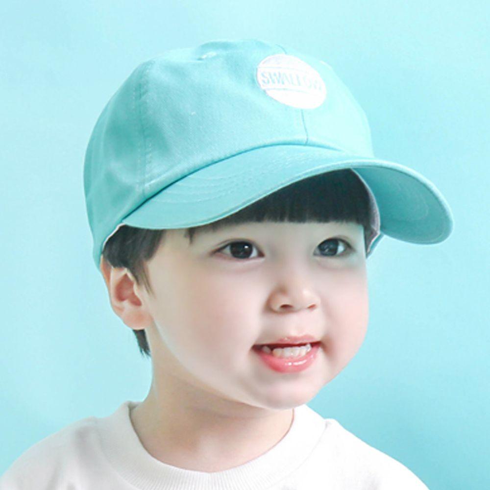 韓國 Babyblee - 字母徽章純色棒球帽-天藍 (頭圍:51-55cm)