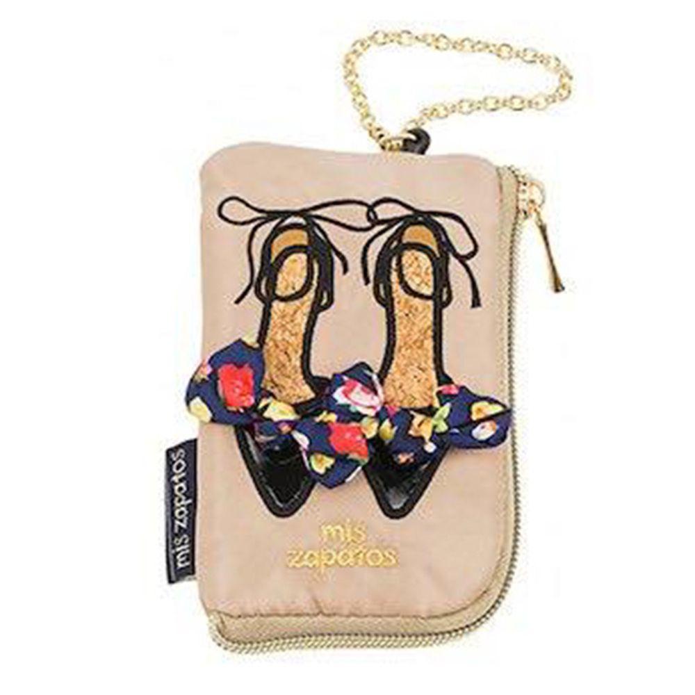 mis zapatos - 美腿零錢包票卡夾(尼龍)-skinny蝴蝶結綁帶-BE米色 (8*13*2cm)