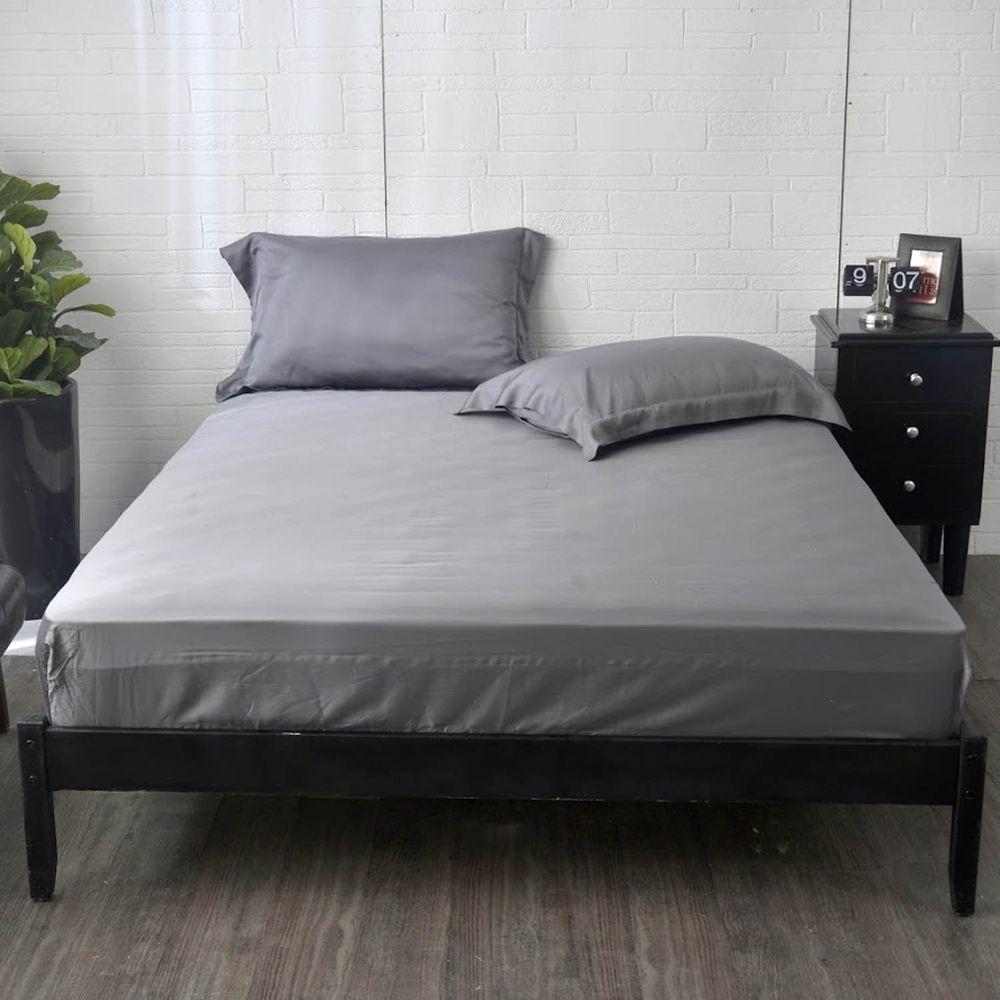格蕾寢飾 Great Living - 義大利La Belle《簡約純色》天絲床包枕套組-深灰色