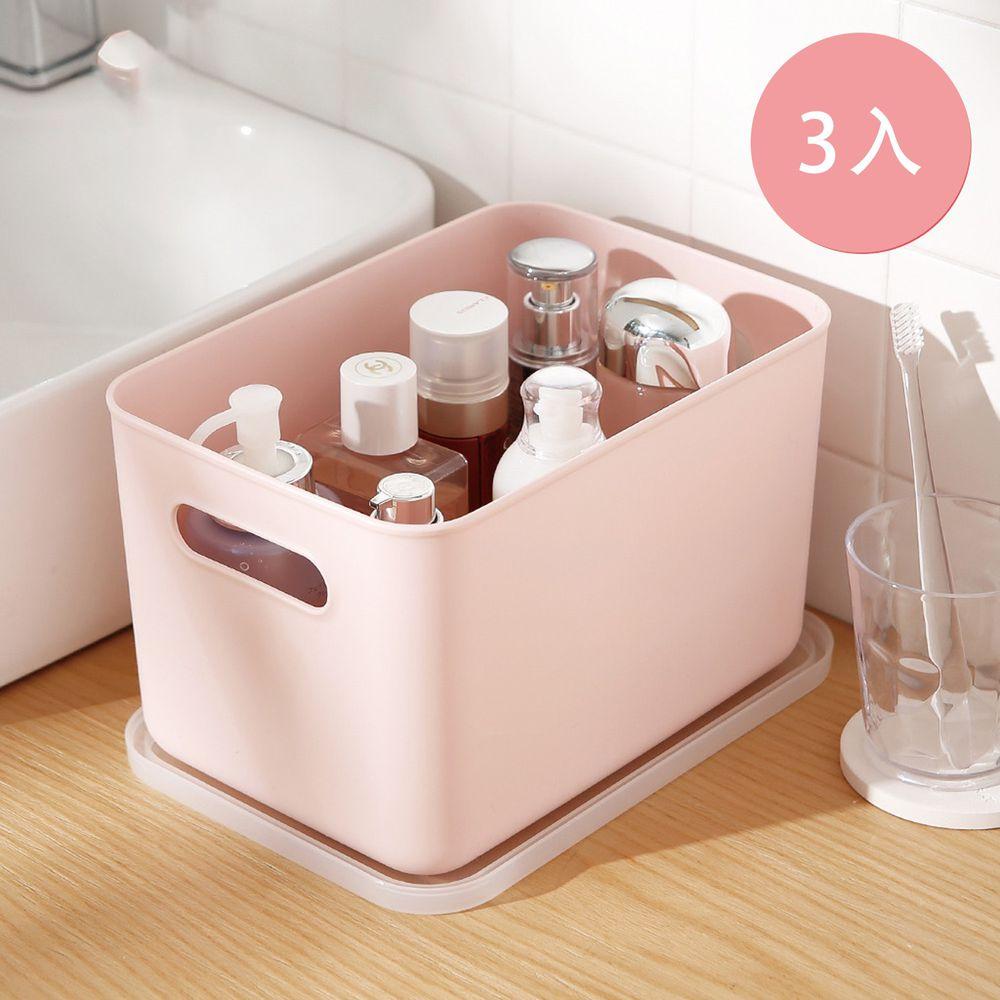 日本霜山 - 無印風霧面附蓋把手收納盒-櫻花粉-S-3入
