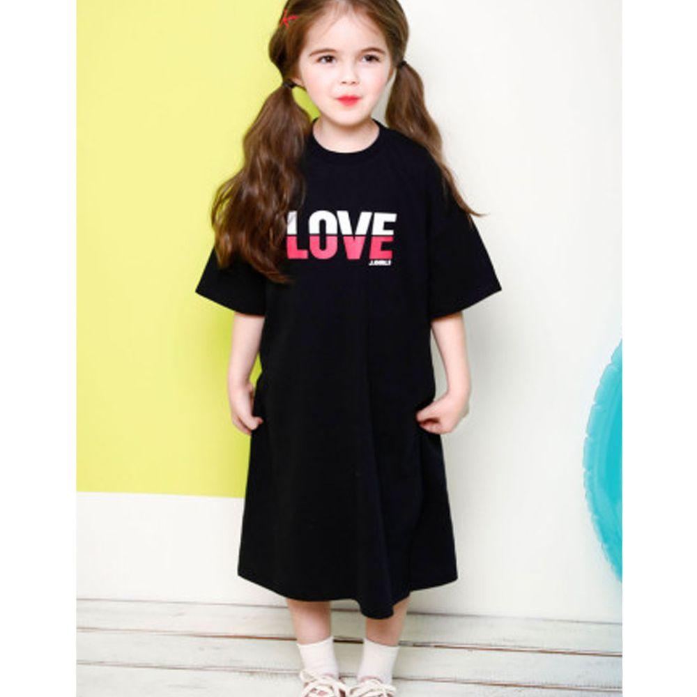 韓國 Jelispoon - LOVE落肩直筒長版洋裝-黑
