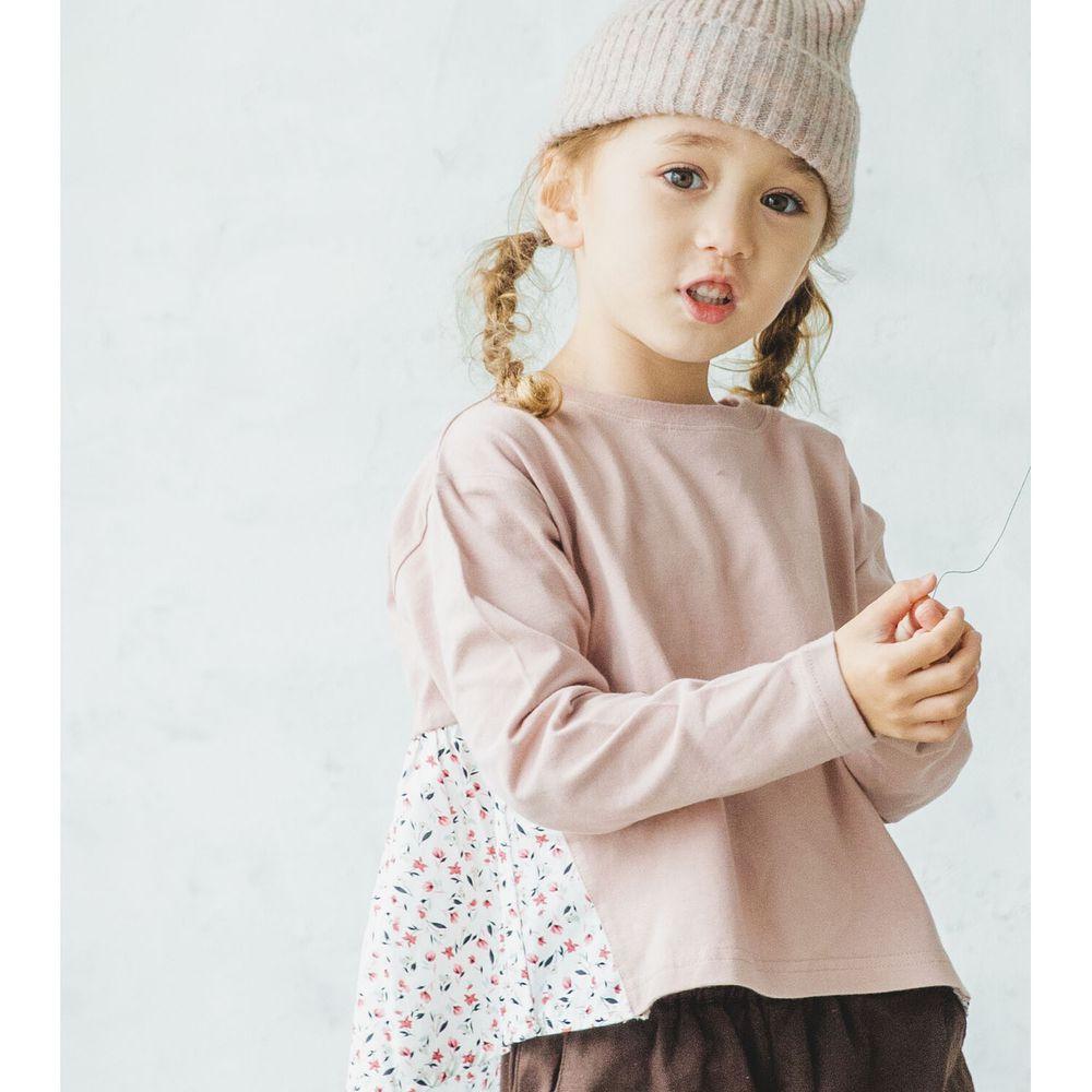 日本 PAIRMANON - 100%柔棉 前後拼接長袖上衣-碎花-粉X白