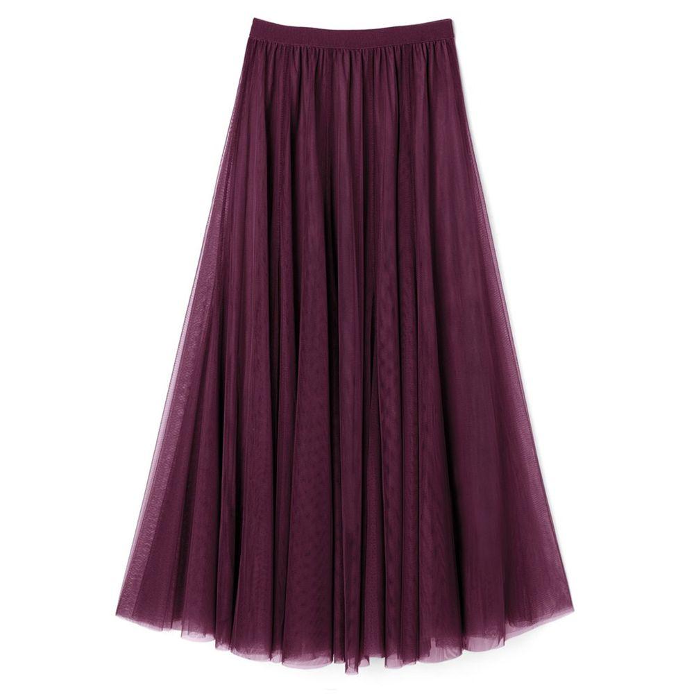 日本 GRL - 飄逸顯瘦雙層傘紗裙-紫羅蘭 (M)