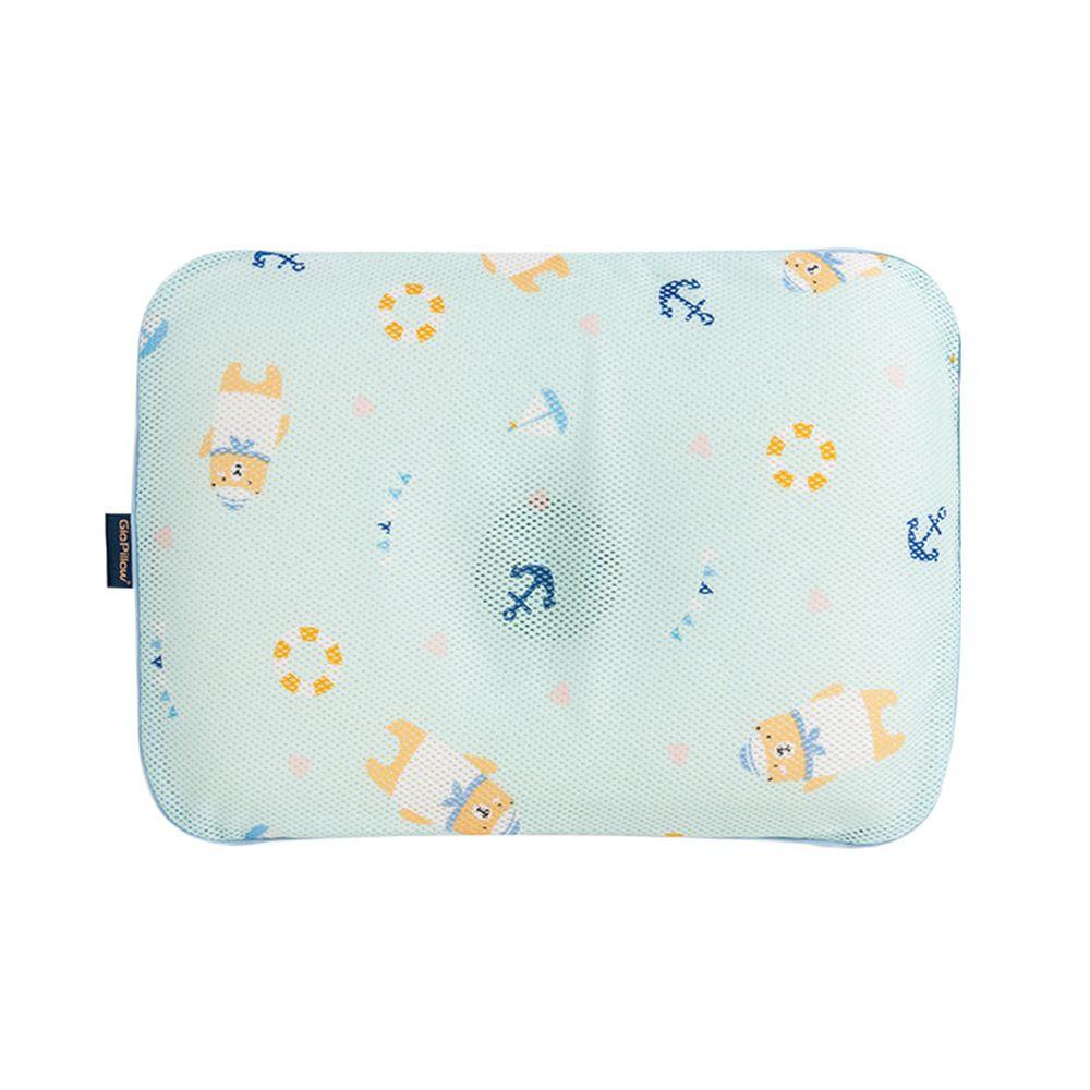 韓國 GIO Pillow - 超透氣護頭型嬰兒枕/防扁頭枕/防蟎枕-單枕套組-水手熊藍 - S/M