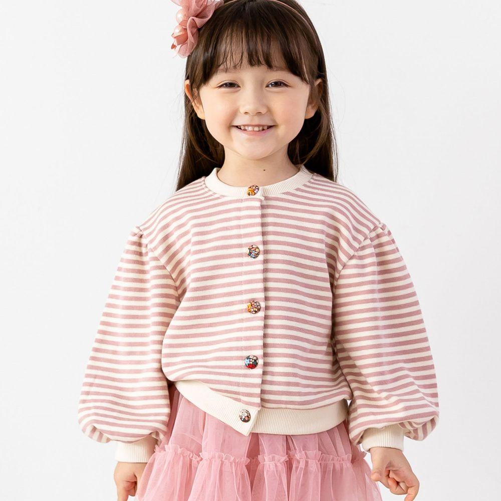 韓國 ERU - 單排釦條紋針織外套-粉紅