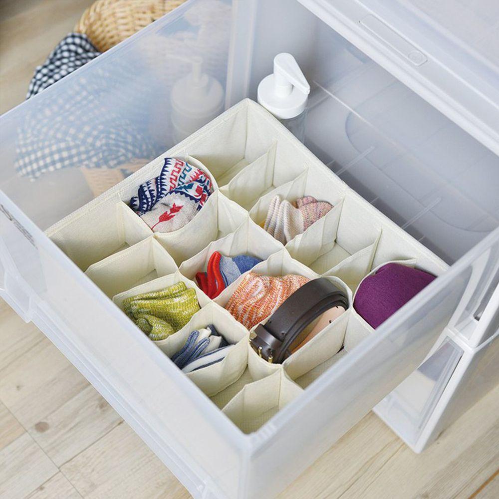 日本天馬 - 抽屜用18小格分類收納布盒-面寬30cm-2入