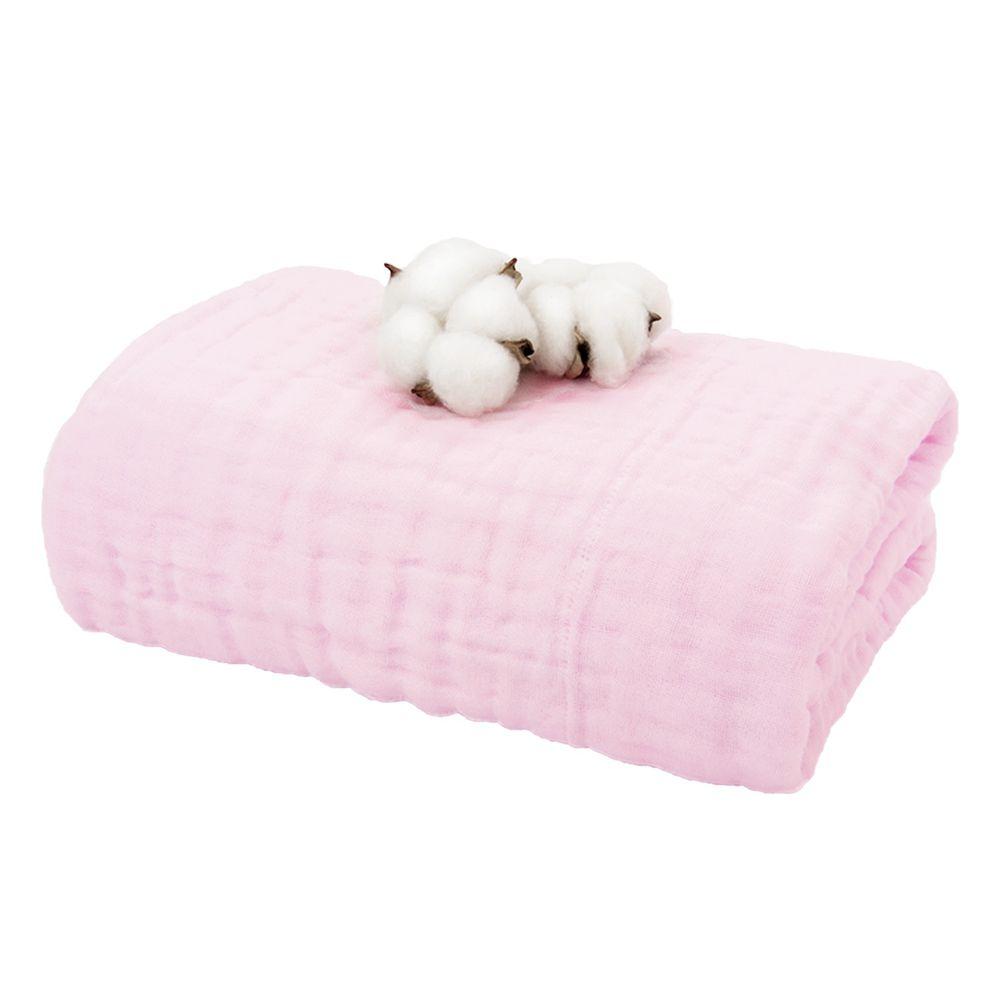 L'ange - 棉之境 6層純棉紗布浴巾/蓋毯-粉紅 (70x120cm)