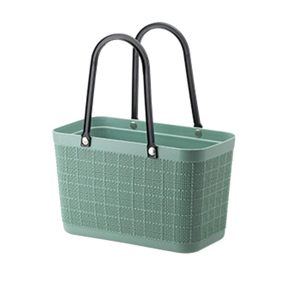 日本霜山 - 復古仿亞麻布格紋萬用防水便攜手提籃 (午餐袋/便當袋)-橄欖綠