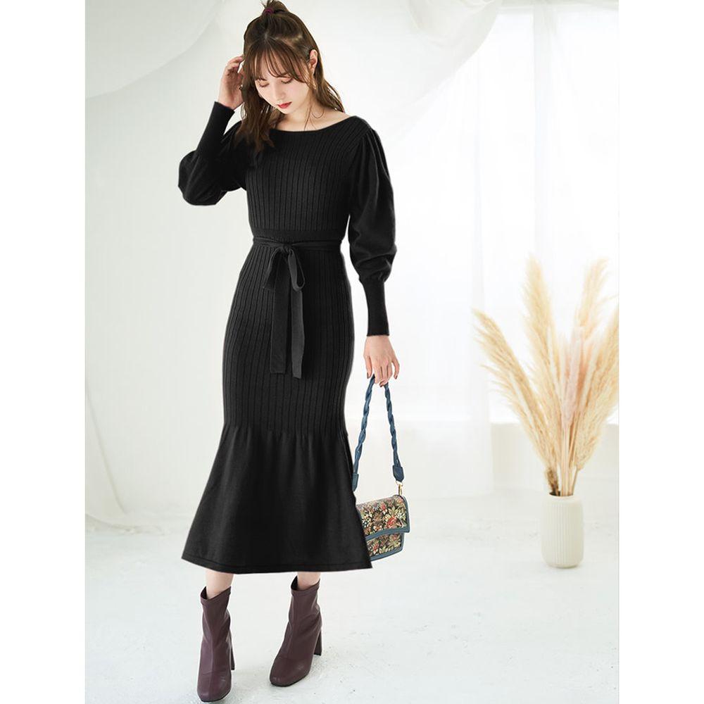 日本 GRL - 羅紋魚尾設計針織長袖洋裝-時尚黑