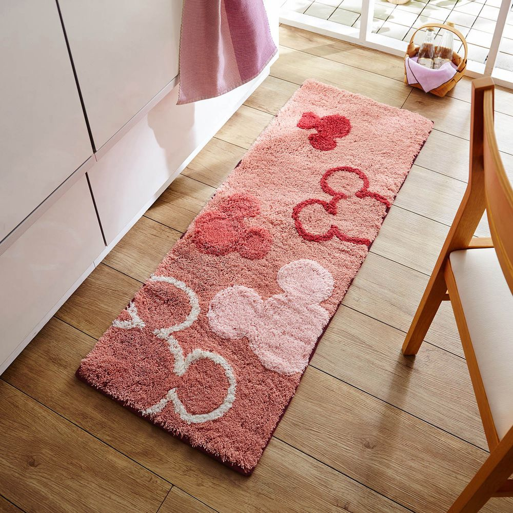 日本千趣會 - 迪士尼 長毛長條型腳踏墊(廚房/臥室)-虛實米奇頭-粉色系